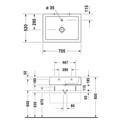 Умывальник Duravit Starck 1, 705х520 мм