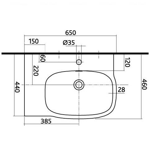 Умывальник Kolo Style 65, правый обычное покрытие обычное покрытие