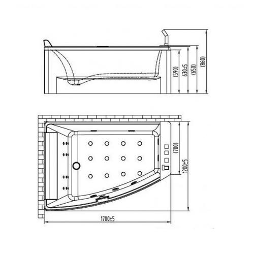 Ванна Volle TS-100,1700х1200х630 мм левосторонняя левосторонняя