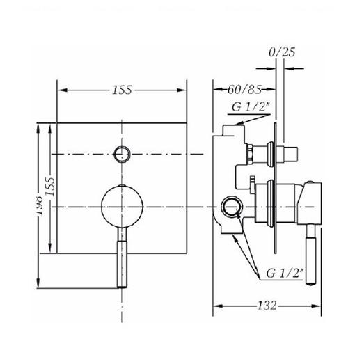 Смеситель для ванны и душа Genebre Tau 65116184566