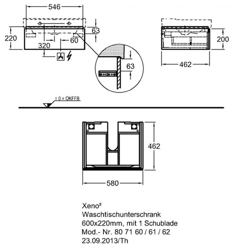 Тумба Keramag Xeno2 580 мм 1-н ящик белый глянец белый глянец