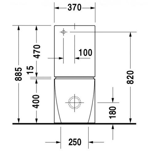 Унитаз напольный Duravit Starck 2, 370x725 мм, для комплектации бачком