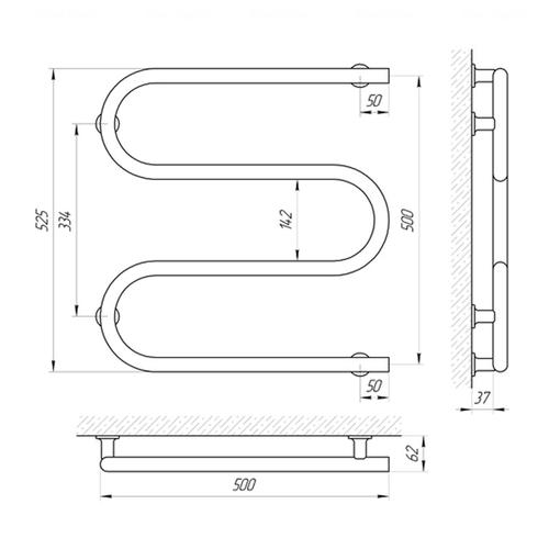 Электрический полотенцесушитель Laris Змеевик 25 ЧФ3 левая розетка левая розетка