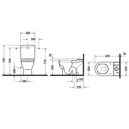 Унитаз напольный Duravit Starck 3, 360x655 мм, для комплектации бачком