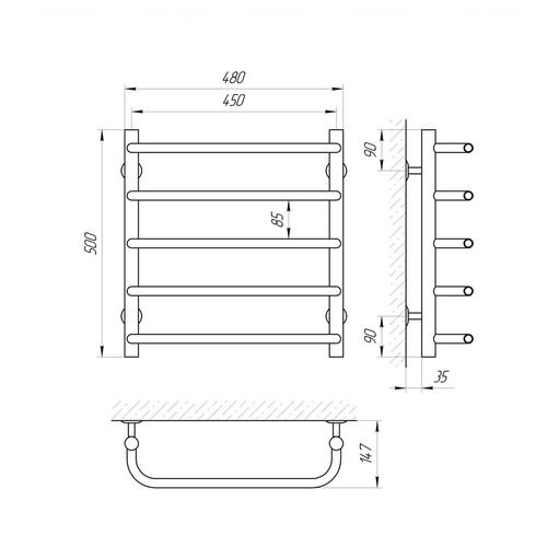 Полотенцесушитель Laris Стандарт П5 (71207060) хром хром