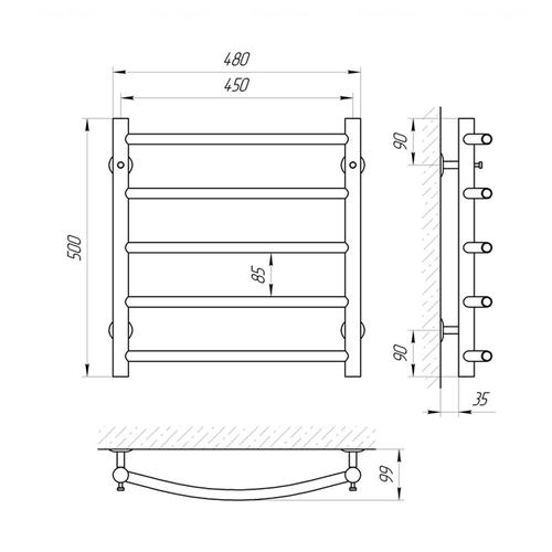 Электрический полотенцесушитель Laris Классик П5, левое подключение (73207046) хром хром
