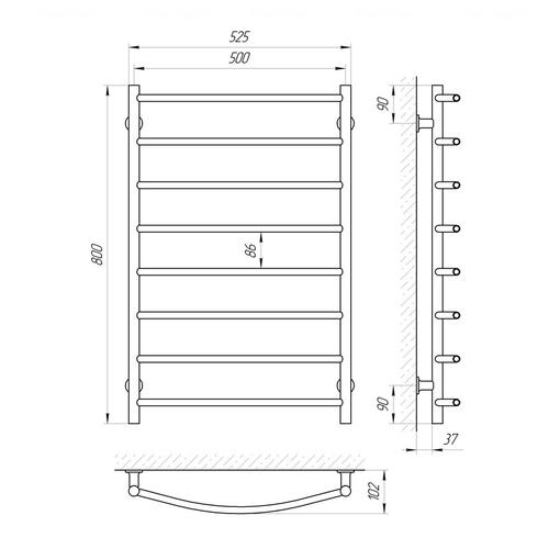 Электрический полотенцесушитель Laris Классик ЧФ8 левая розетка левая розетка