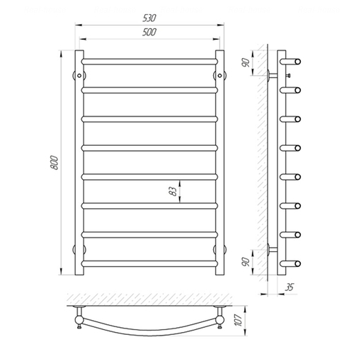 Электрический полотенцесушитель Laris Классик П8, левое подключение (73207052) хром хром