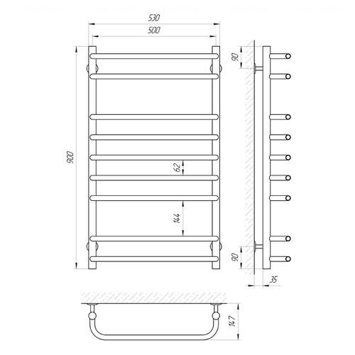 Электрический полотенцесушитель Laris Стандарт П9, левое подключение (73207090) хром хром