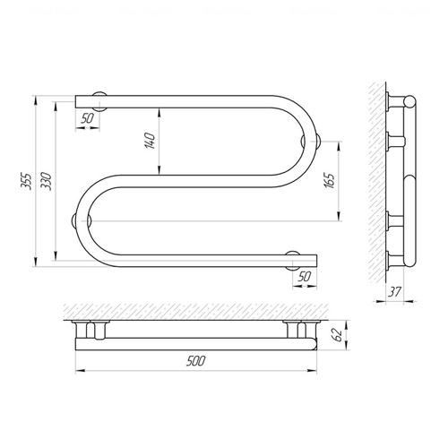 Электрический полотенцесушитель Laris Змеевик 25 РС2 500х330, левое подключение (73207189) хром хром