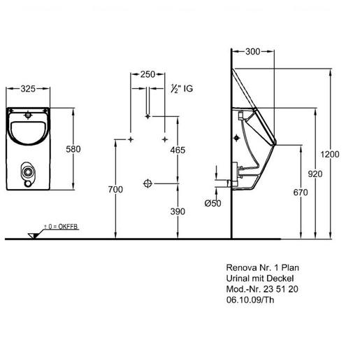 Писсуар с системой Flushcontrol Keramag Renova Nr.1 Plan 235106