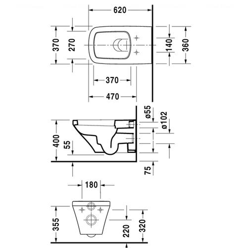 Унитаз подвесной Duravit Happy D.2, 370x620 мм