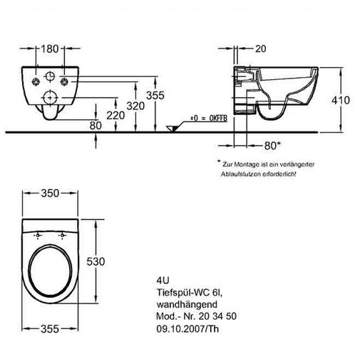Унитаз подвесной Keramag 4U, 530 мм