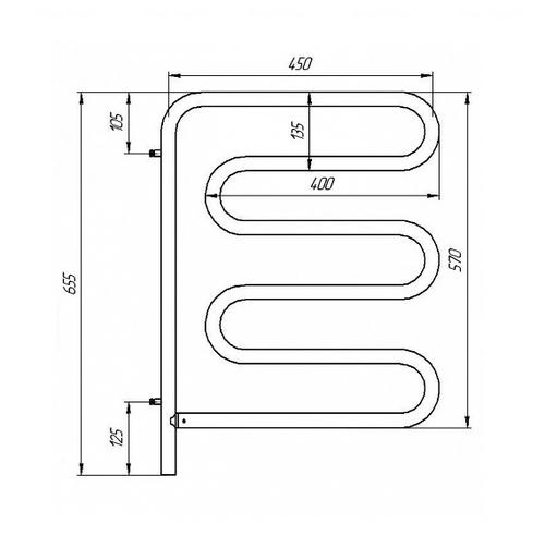 Электрический полотенцесушитель Laris Змеевик 25 РС5 450х570, поворотный правый (73207160) хром хром