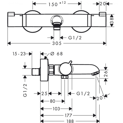 Смеситель-термостат для ванны и душа Hansgrohe Ecostat Comfort (13114000)
