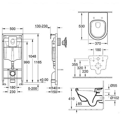 Комплект: унитаз Villeroy&Boch Omnia Architectura + инсталляция Grohe (5684H101+38721001)