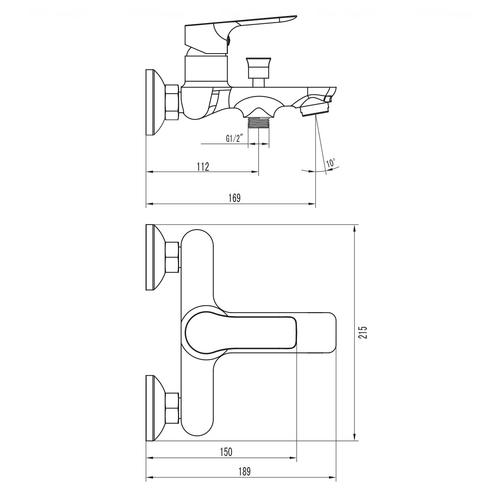 Смеситель для ванны и душа Imprese Kucera 10105