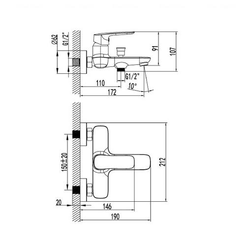 Смеситель для ванны и душа Imprese Loket 10230