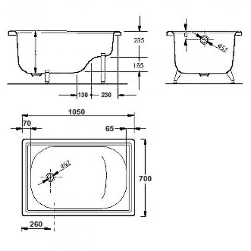 Ванна Aquart 105x70 без сидения без сидения