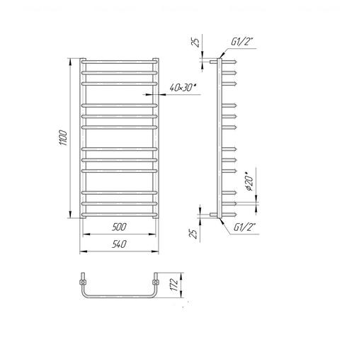 Полотенцесушитель Mario Премиум Стандарт 1100х540-500 хром хром