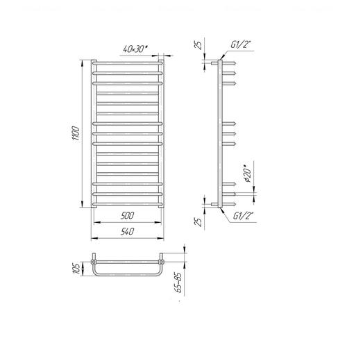 Полотенцесушитель Mario Премиум Люкс 1100х540-500 хром хром