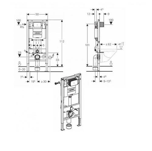 Инсталляция Geberit Duofix с бачком Omega 12 см, высота 112 см (111.060.00.1)