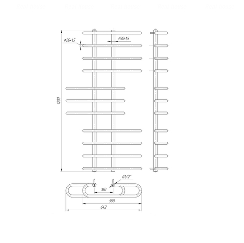 Полотенцесушитель Mario Парус 1200х650-160 хром хром