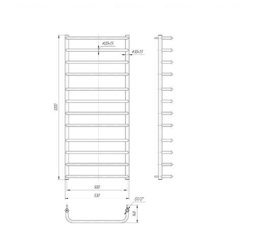 Полотенцесушитель Mario Стандарт 1200х530-500 хром хром