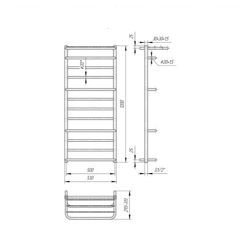 Полотенцесушитель Mario Люксор 1200x530-500 хром хром