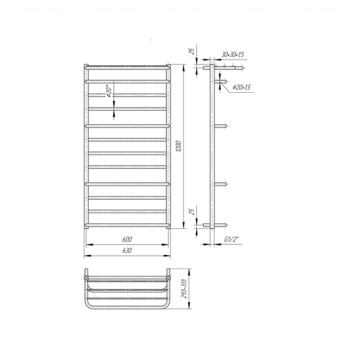 Полотенцесушитель Mario Люксор 1200x630-600 хром хром
