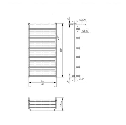 Полотенцесушитель Mario Люксор Премиум 1200х630-600 хром хром