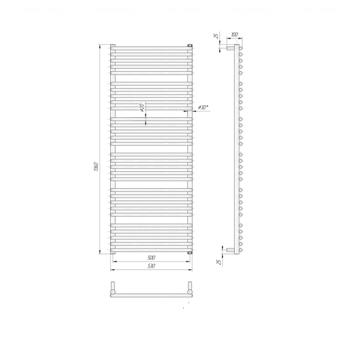 Полотенцесушитель Mario Премиум Турин 1360х530-500 хром хром