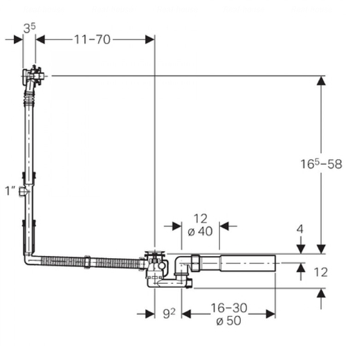 Слив-перелив удлиненный для ванн Geberit d 52 мм (150.711.21.1)