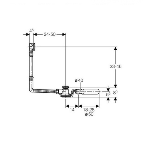 Слив-перелив удлиненный Geberit для ванн с кнопкой слива, d 52 мм (150.756.21.1)