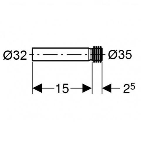 Патрубок впускной для писсуара Geberit 150 мм (152.489.16.1)