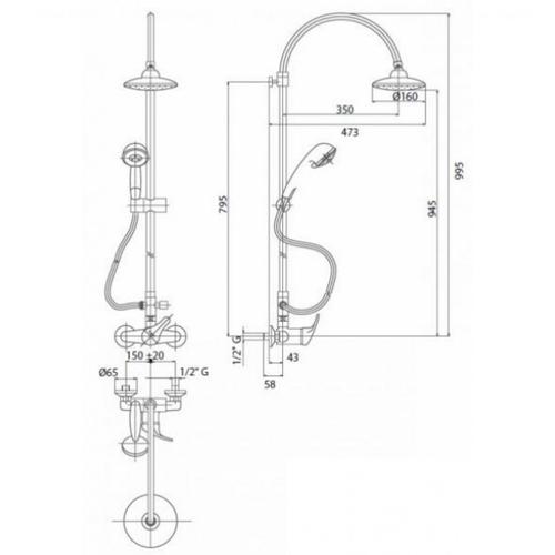 Душевая система Bianchi Star (ESDSTR202500CRM)