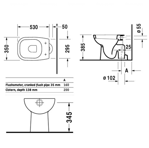 Унитаз напольный Duravit D-Code 350x530 мм