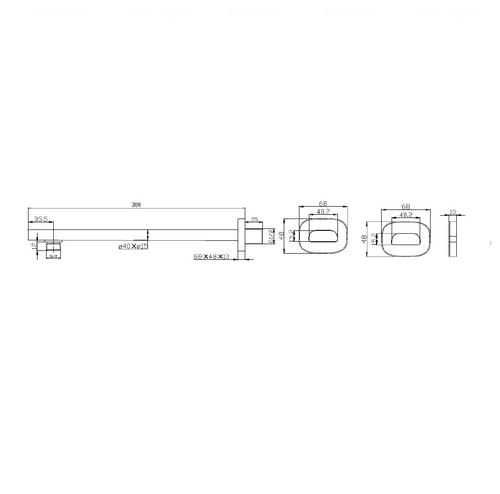 Кронштейн для верхнего душа Imprese 300 мм (SH01-300B)