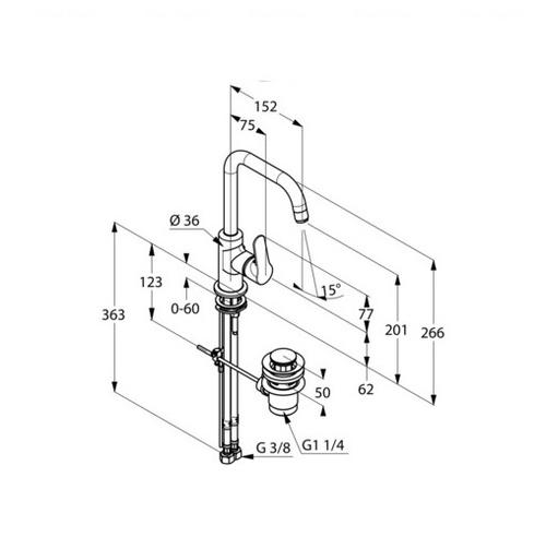 Смеситель для раковины Kludi Objekta 320230575 донный клапан донный клапан