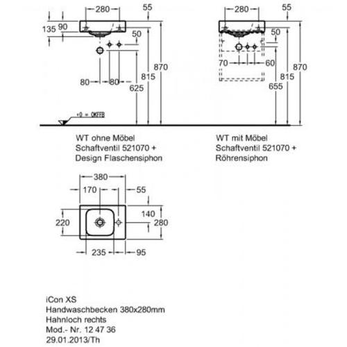 Умывальник Keramag iCon xs 380 мм, правосторонний