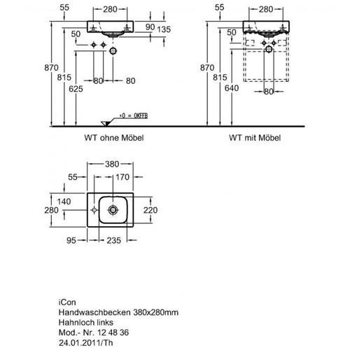 Умывальник Keramag iCon xs 380 мм, левосторонний