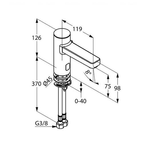 Электронный монокран для раковины Kludi Zenta E 9V (3810505)