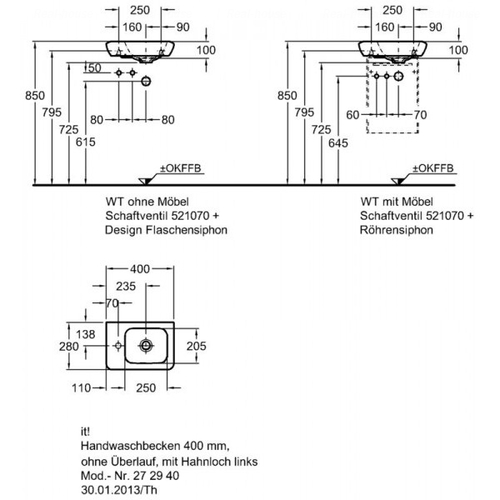 Умывальник Keramag IT 400 мм, левосторонний
