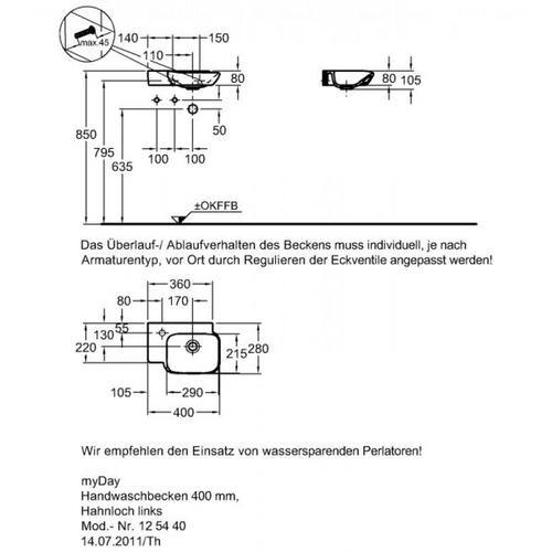 Умывальник Keramag myDay 400 мм, левосторонняя