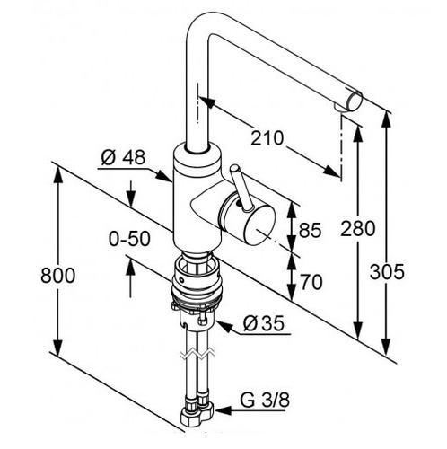 Смеситель для кухни Kludi L-Ine с байонетным креплением (428170577)