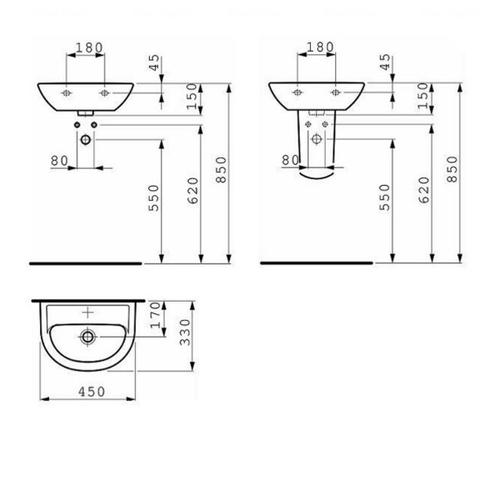 Умывальник Laufen Pro B 45 (H8159520001041)