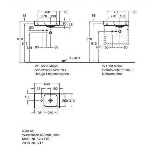 Умывальник Keramag iCon xs 530 мм, левосторонний