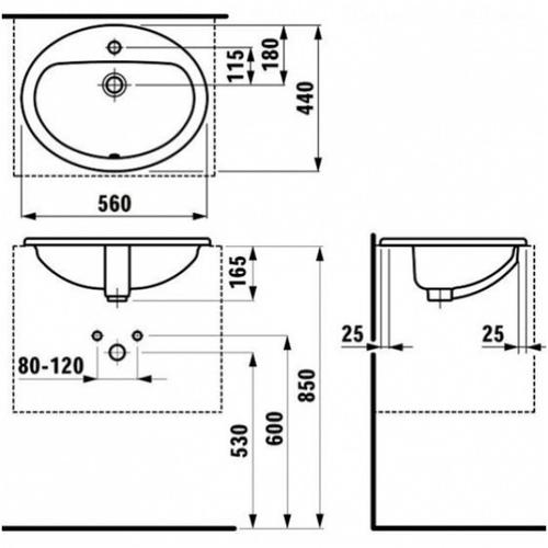 Умывальник Laufen Pro B 56 (H8139510001041)