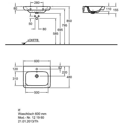 Умывальник Keramag IT 600 мм