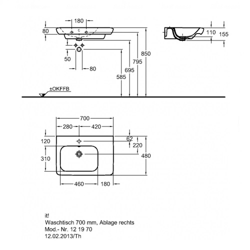 Умывальник Keramag IT 700 мм, правосторонний
